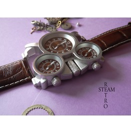 Russian Military 3 Time Zones Quartz Steampunk Watch
