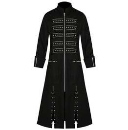 Gothic Long Coat Men Steampunk Studded Pin Coat