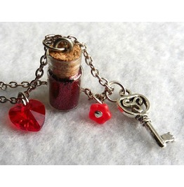 Red Love Potion Goth Vial Necklace, Love, Valentine, Witch, Key, Bottle