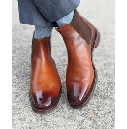 Handmade Mens Brown Burnish Toe Leather Chelsea Boots, Men Leather Boot