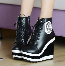 Black White Skull Print Lace Wedge High Heel Boots