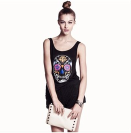 Black Skull Pattern Women T Shirt