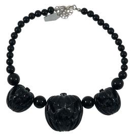 Jack O Lantern Pumpkin Black Necklace