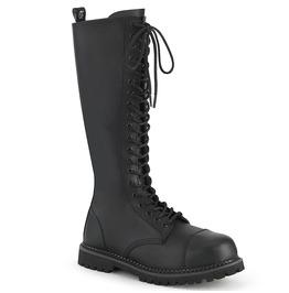 Black Vegan Leather Festival Knee Length Lace up Boots