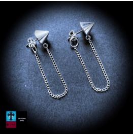 Punk 925 Sterling Silver Spike & Chain Stud 's Earrings
