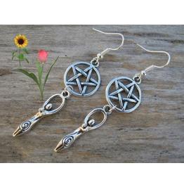 Wicca Pagan Earth Mother Fertility Goddess Pentagram Drop Earrings