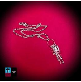 Punk Rock Razor Blade & Safety Pin Pendant & Chain Necklace