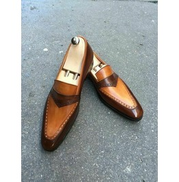 Handmade Leather Moccasin Two Tone Loafers for Men Dress Shoes