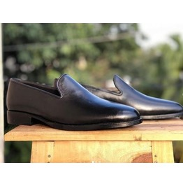 New Handmade Men Moccasin Round Toe Formal Shoes, Leather Formal Shoes