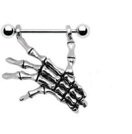 Sexy Gothic Punk Surgical Steel Skeleton Skull Hand Shield Nipple Bar Ring