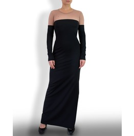 Black Maxi Dress With Long Sleeves and Tulle Top