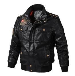 Men's Bomber PU Leather Jacket