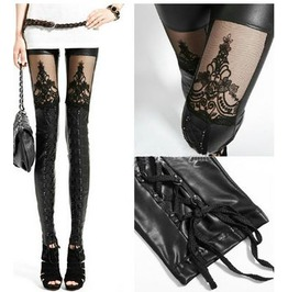 Laced Black Faux Leather Lace Embroidered Leggings