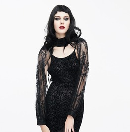 Floral Embroidered Collar Lace Cuffed Long Sleeve Gothic Cape
