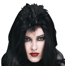 Ornamental Mesh Black Floral Headwear
