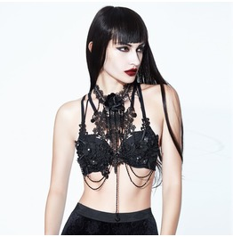 Black Lace And Chains Chest Harness With Strap Collar