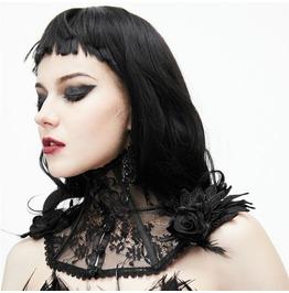 Goth Vintage Black Floral Lace Neck Corset