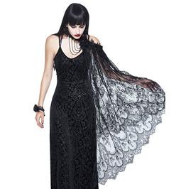 Vintage Goth Floral Black Embroidered Cold Shoulder Cape