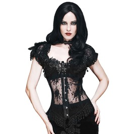 Gothic Puff Sleeves Lace-Up Mesh Trimmed Hem Corset Top