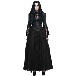 Gothic Split Sleeves Front Zipper Black Peplum Top Lace Gown