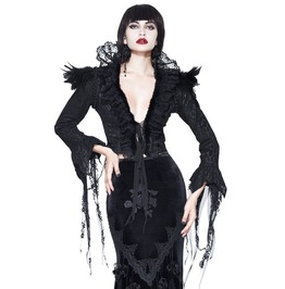 Gothic Long Flared Sleeves Black Deep Ruffled V Neck Asymmetric Lace Top