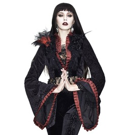 Trumpet Sleeves Black And Red Ruffled Neckline Short Jacquard Coat
