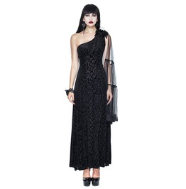 Gothic One Shoulder Black Jacquard Mesh Sleeve Embroidered Long Dress
