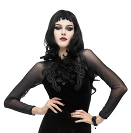 Gothic Stand Band Collar Black Buttoned Floral Embroidery Slim Fit Top