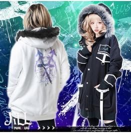 Punk Tattoo Chiron's Arrow Sagittarius Fur Trim Thermal Parka Jacket JJ2262