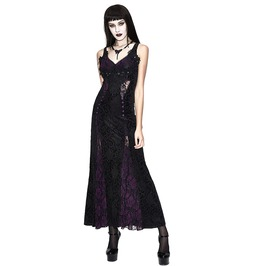 Gothic Sleeveless 2 Color Jacquard Back Lacing Patchwork Long Dress