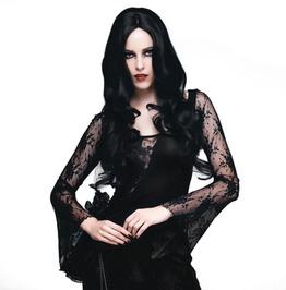 Gothic Black Flare Sleeve Mesh Patchwork Asymmetric Hem Slim Fit Top
