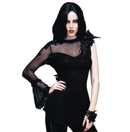 Black One Sleeve Floral Embroidery Black Asymmetric Hem Cotton Top