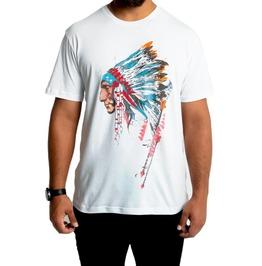 Native American Man Print Short Sleeve White Cotton T-shirt