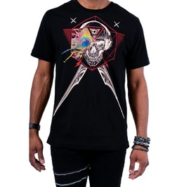 Short Sleeve O-neck Third Eye Skull Sword Print Black Cotton T-shirt