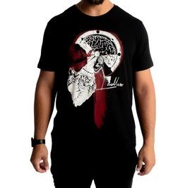 Black Pure Cotton Skull Brain Equilibrium Print O-neck T-shirt