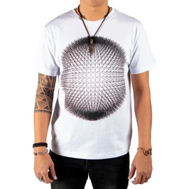 Endless Spikes Sphere Graphic Print White Cotton T-shirt