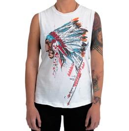 White Cotton Native American Man Print Tank Top