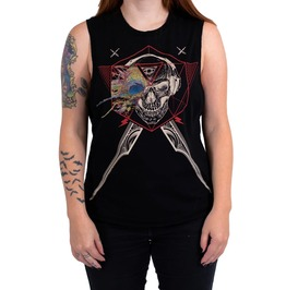 Third Eye Skull Tattoo Print Pure Cotton Tank Top
