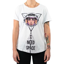 I Need Space Graphic Print Short Sleeve White Cotton T-shirt