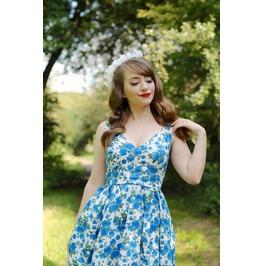 Blue Roses Deep V-neck Sleeveless Skater Dress