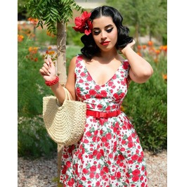 Deep V-neck Sleeveless Red Roses Knee Length Skater Dress