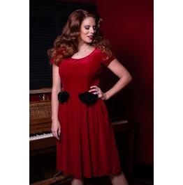 Bow Detail Short Sleeve Ruffled Red Velvet Pockets Dress
