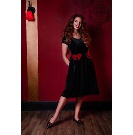 Black Velvet Red Bows Pockets Ruffled Dress
