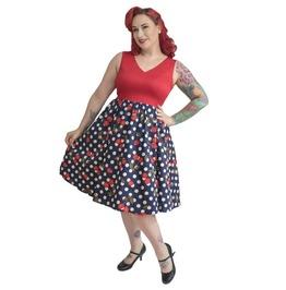 V-shape Neck and Back Sleeveless Polka Dots Gathered Circle Skirt Dress