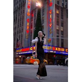 Black Sleeveless Plunging Neckline Long Hooded Velvet Dress