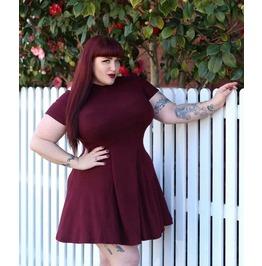 Burgundy Short Sleeve High Neck Zipper Skater Mini Dress
