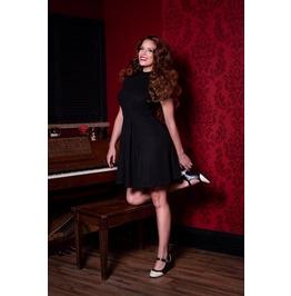 Black Short Sleeve High Neck Zipper Pleated Mini Dress