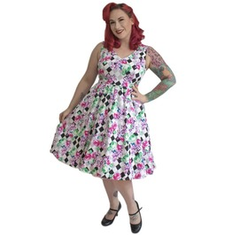 Pin-up Rockabilly Vintage Retro V-neck Front and Back Knee Length Gathered Skirt Floral Dress