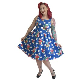 Pin-up Rockabilly Vintage Retro Square Neckline Polka Dots and Floral Rockabilly Full Gathered Skirt Dress