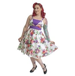 Strappy Floral Half Bareback Lined Bodice Retro Circle Skirt Dress